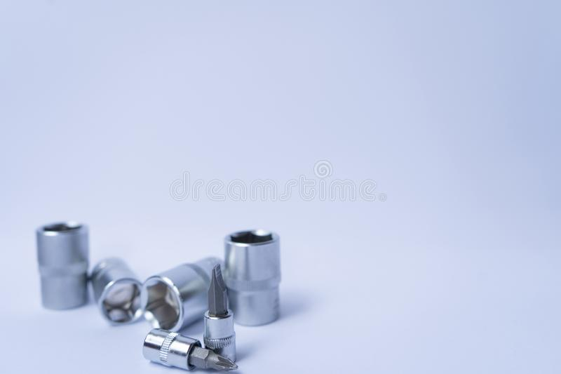 Tool set bolts and nuts on the gray background. Tools concept. Photo for background, there is place for text royalty free stock photos