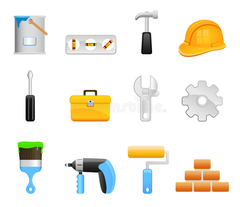 Tool set icons. Construction tools icon set vector