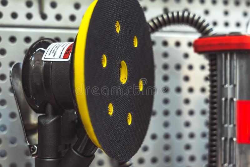 Tool on the stand. Electric tools for construction on the stand in the shop stock images