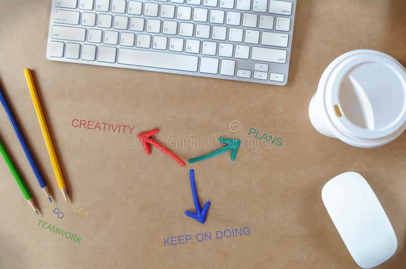 Tool of success words on working desk, business concept stock photo