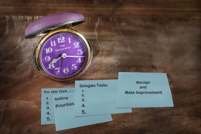Tool of time management on sticky note with clock royalty free stock image