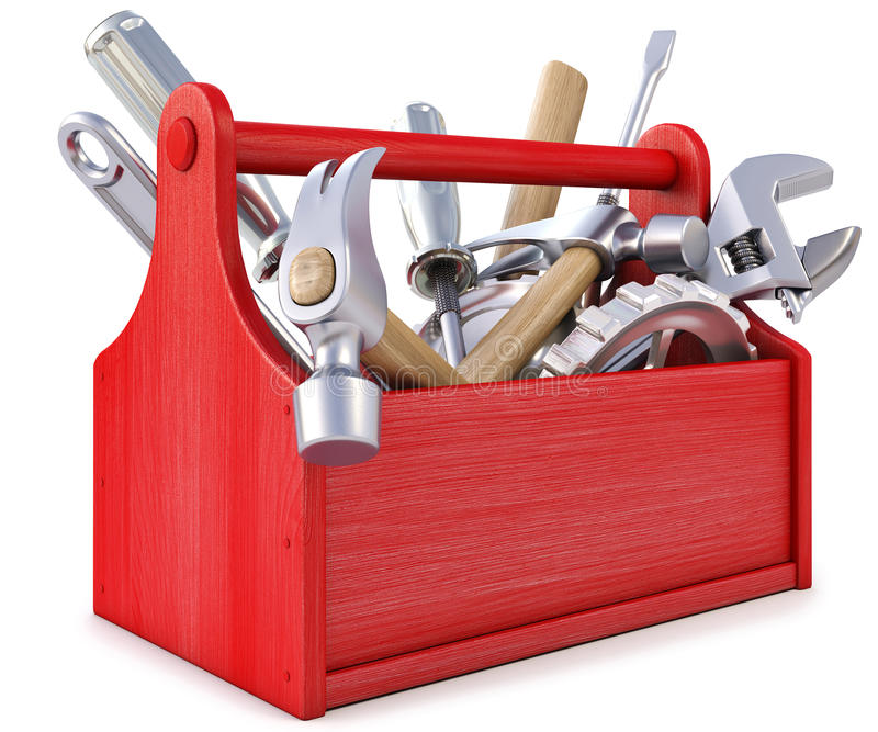 Toolbox. Wooden toolbox with tools. on white stock illustration