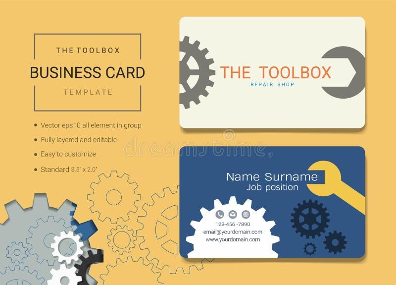 Toolbox adreskaartje of van de naamkaart malplaatje royalty-vrije illustratie