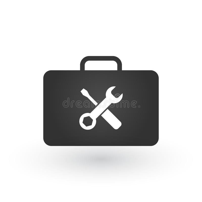 Toolbox or briefcase with tools icon, vector illustration isolated on white background. vector illustration