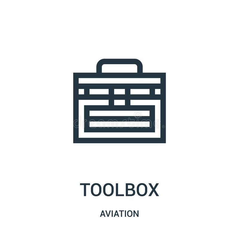 Toolbox icon vector from aviation collection. Thin line toolbox outline icon vector illustration. Linear symbol for use on web and. Mobile apps, logo, print vector illustration
