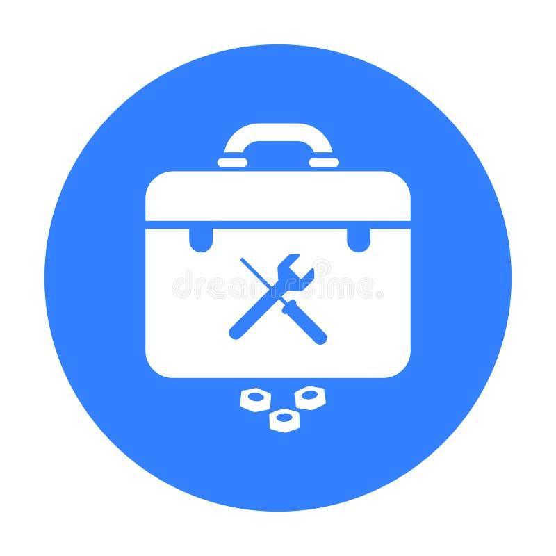 Toolbox ikona w czerń stylu odizolowywającym na białym tle Instalacja wodnokanalizacyjna symbolu zapasu wektoru ilustracja ilustracji