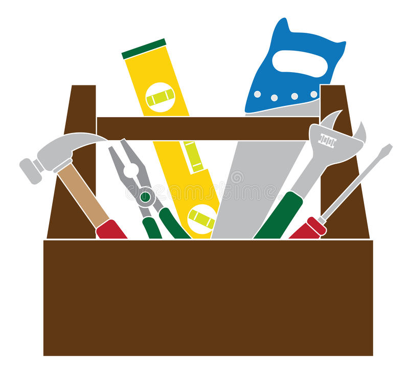 Toolbox med illustrationen för vektor för konstruktionshjälpmedelfärg royaltyfri illustrationer