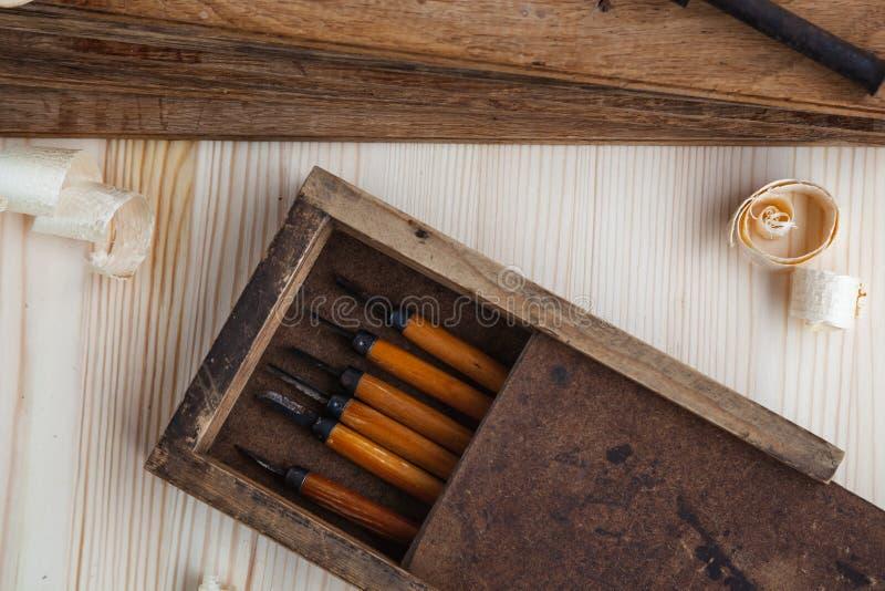 Toolbox met houten snijders stock foto