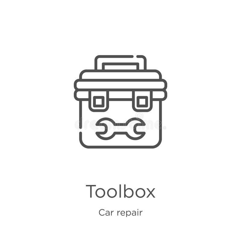 toolbox pictogramvector van de inzameling van de autoreparatie De dunne lijntoolbox vectorillustratie van het overzichtspictogram royalty-vrije illustratie