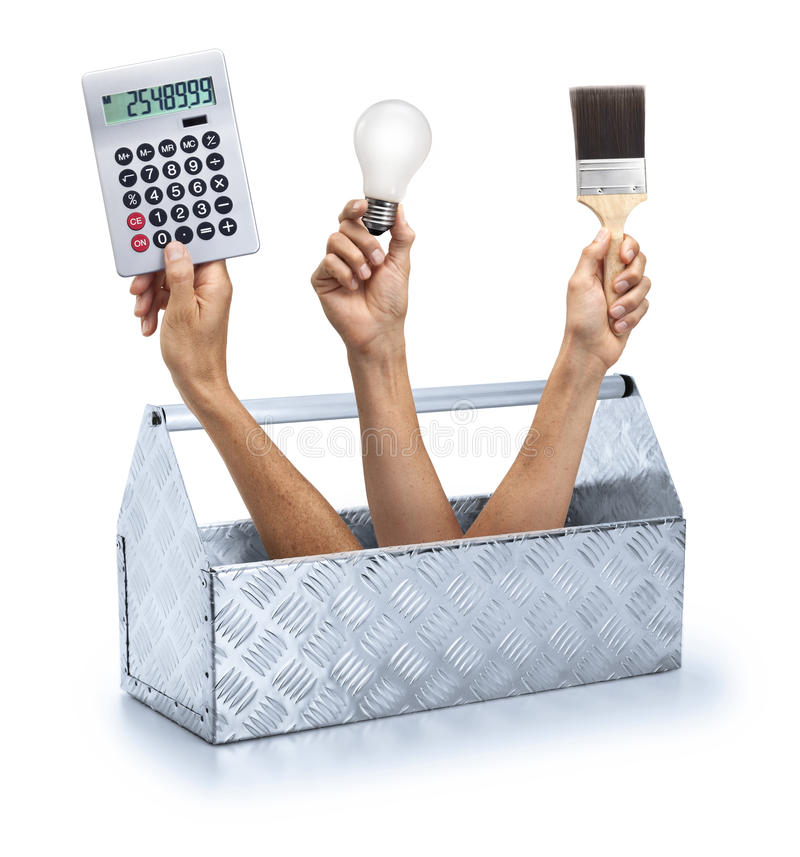 Toolbox Renovation Handyman DIY. A conceptual image of a toolbox with hands holding a calculator, lightbulb and paintbrush coming out on a white background royalty free stock image