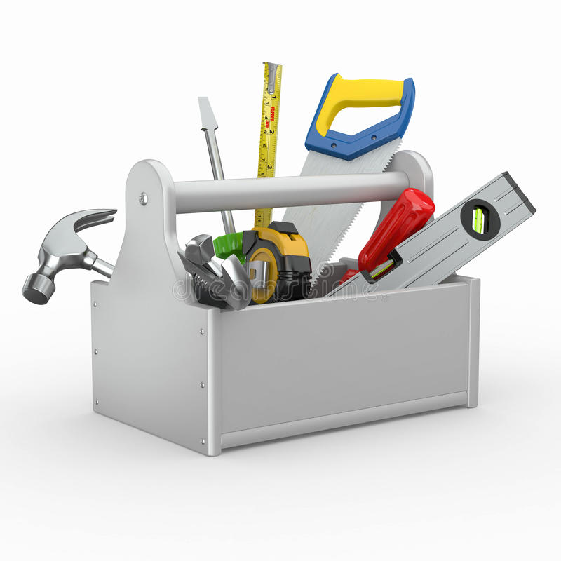 Toolbox with tools. Skrewdriver, hammer, handsaw and wrench. 3d stock illustration