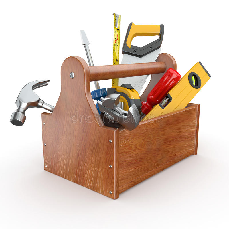Toolbox with tools. 3d stock illustration