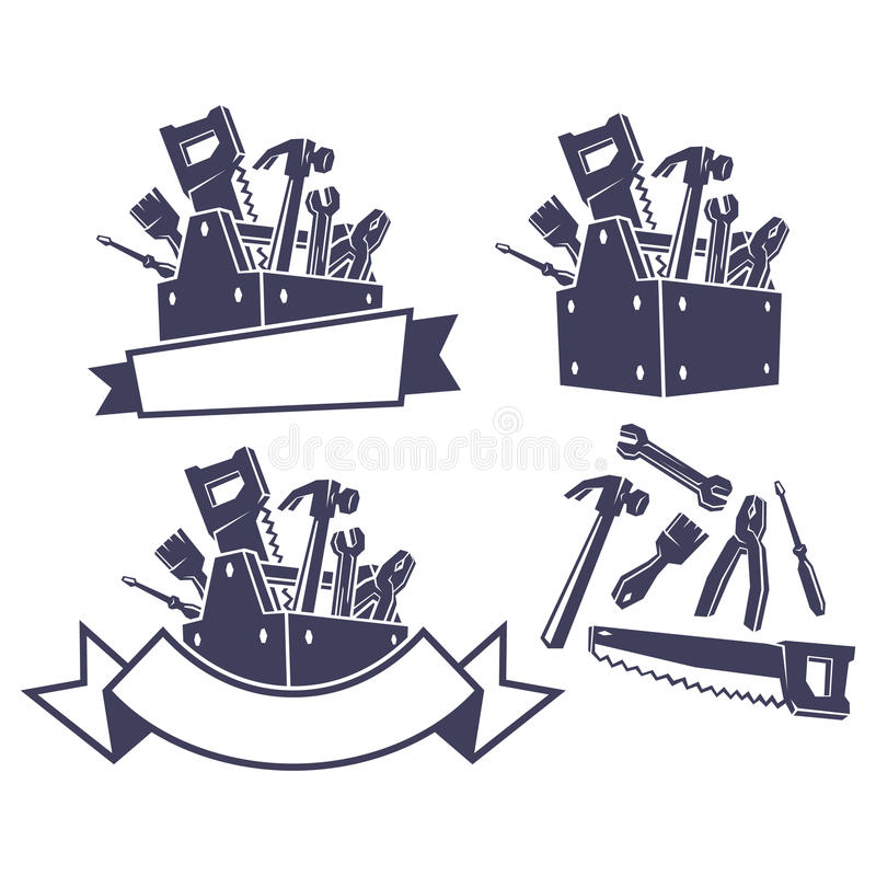 Toolbox with tools, design elements stock illustration
