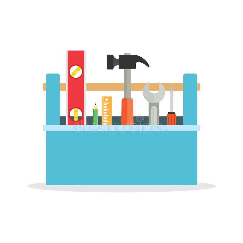 Toolbox with tools. stock illustration