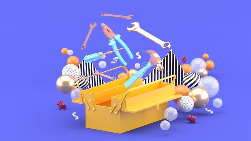 Toolbox under färgrika bollar på en purpurfärgad bakgrund stock illustrationer