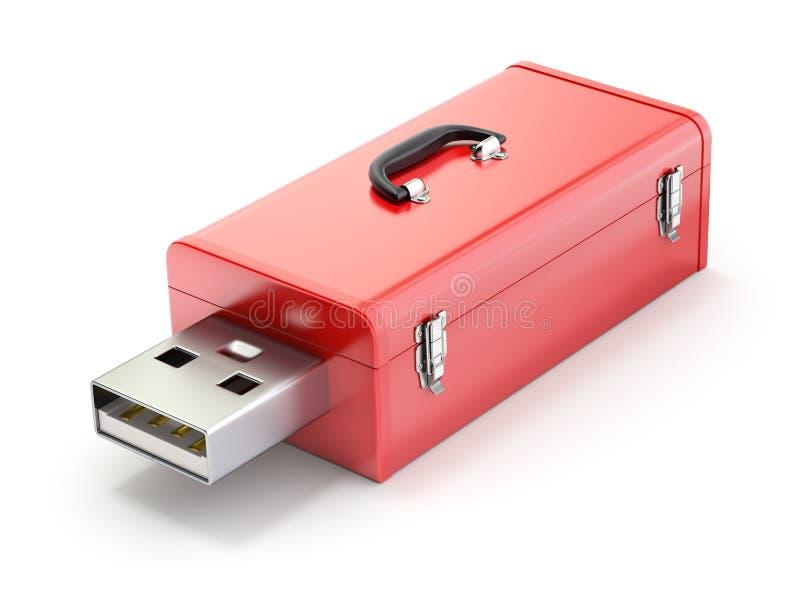 Toolbox with USB plug. 3D illustration stock illustration