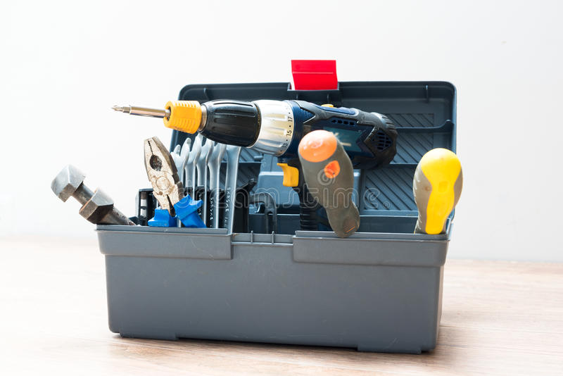 Toolbox with variety of tools royalty free stock images