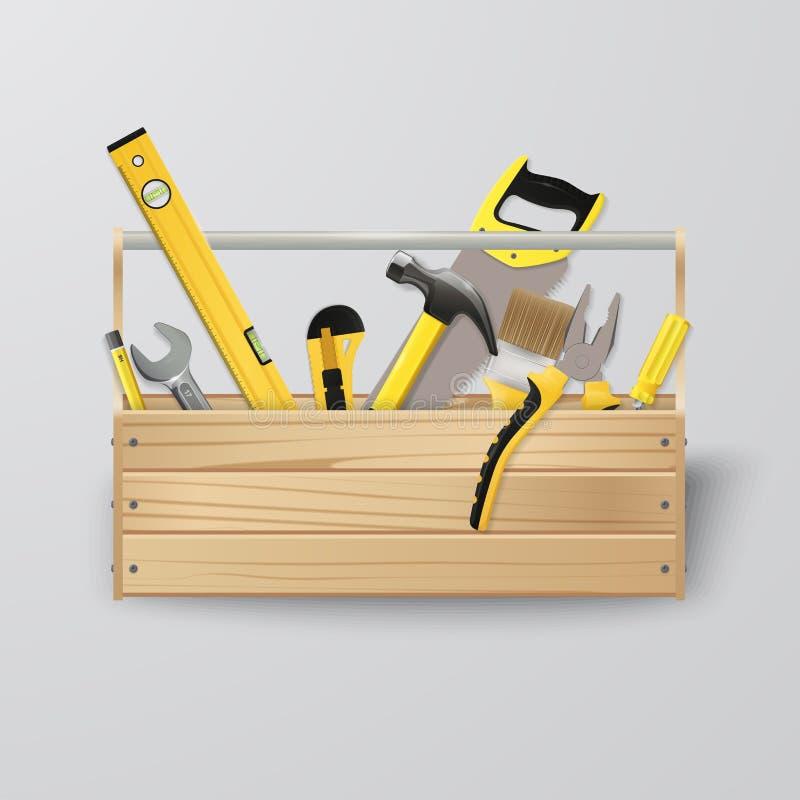 Toolbox Vektorkonstruktionshjälpmedel Hem- reparation vektor illustrationer