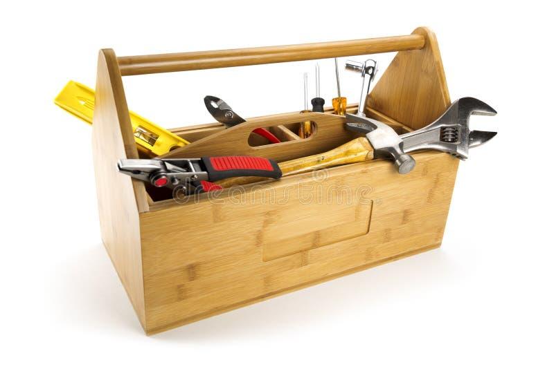 toolboxen tools vitt trä royaltyfri fotografi