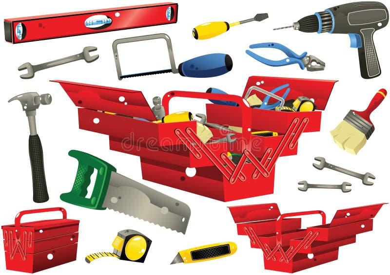 Toolboxes z ręk narzędziami ilustracja wektor