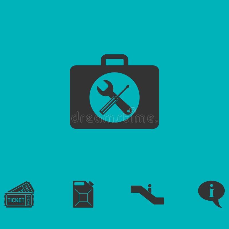 Toolboxsymbolslägenhet stock illustrationer