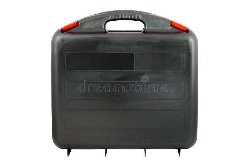 Toolcase noir en plastique avec les étiquettes rouges images libres de droits
