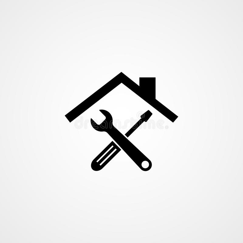 Toolkit. Toolbox. Wrench and screwdriver icon on gray background. Work tools. Repairing, service tools. Vector illustration royalty free illustration
