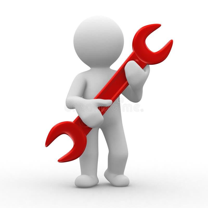 Tools. 3d human carry a big tool in hands