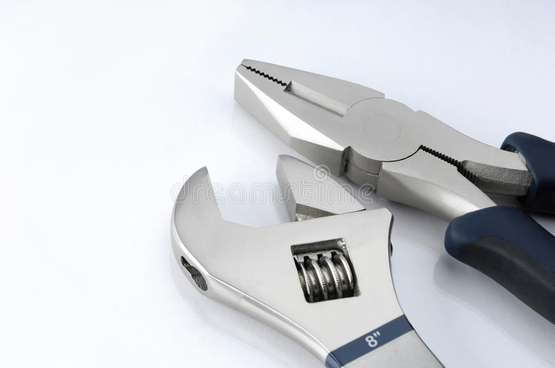 Download Tools Adjustable Wrench And Pliers Stock Image - Image of studio, wrench: 29663413