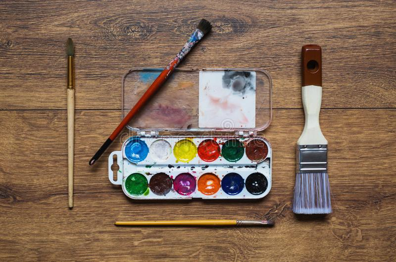 Tools for art and drawing. Artist`s work stock image