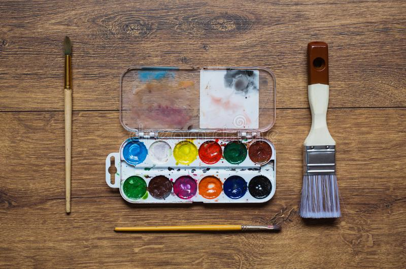 Tools for art and drawing. Artist`s work stock photos