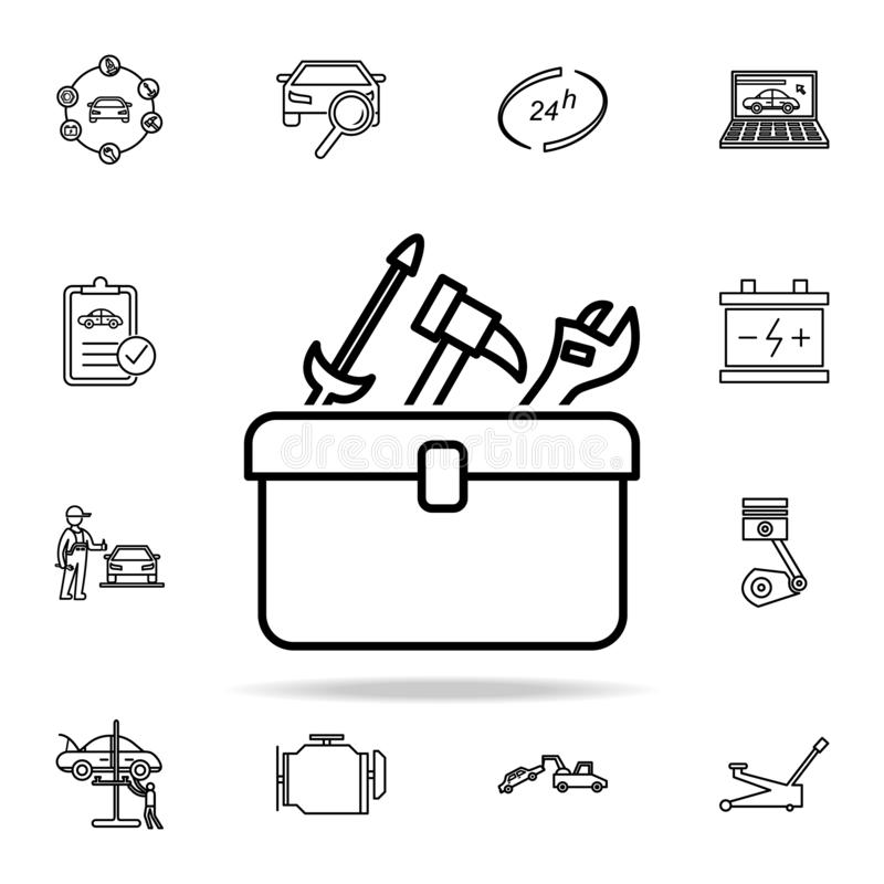 tools bag icon. Cars service and repair parts icons universal set for web and mobile stock illustration