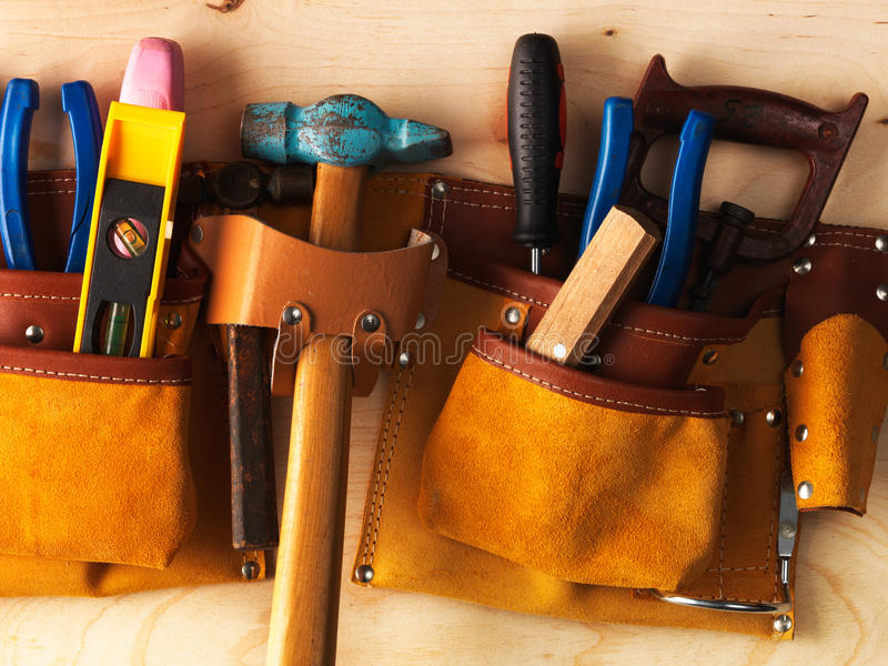 Tools in belt royalty free stock photo