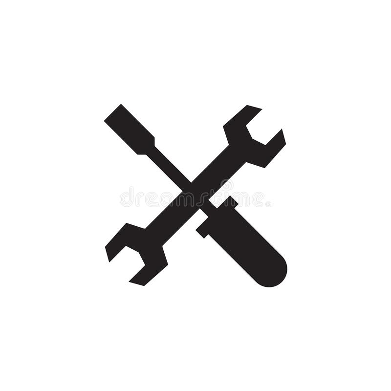 Tools - black icon on white background vector illustration for website, mobile application, presentation, infographic. Wrench stock illustration