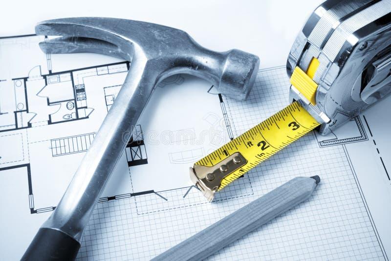 Tools on Blueprints stock photos