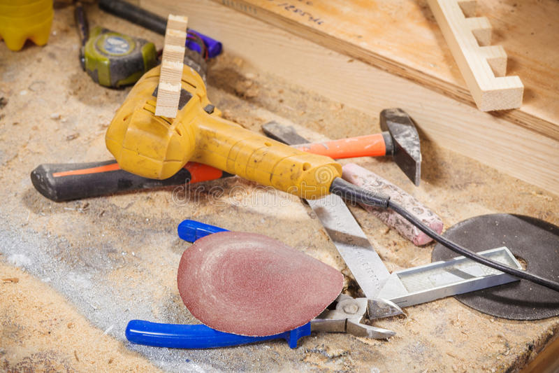 Tools carpenter workroom royalty free stock photography