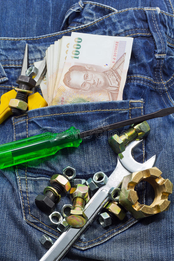 Tools And Cash Royalty Free Stock Images