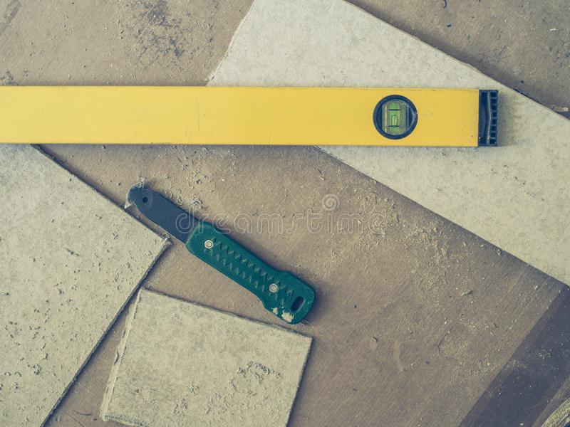 Tools and cement board royalty free stock image