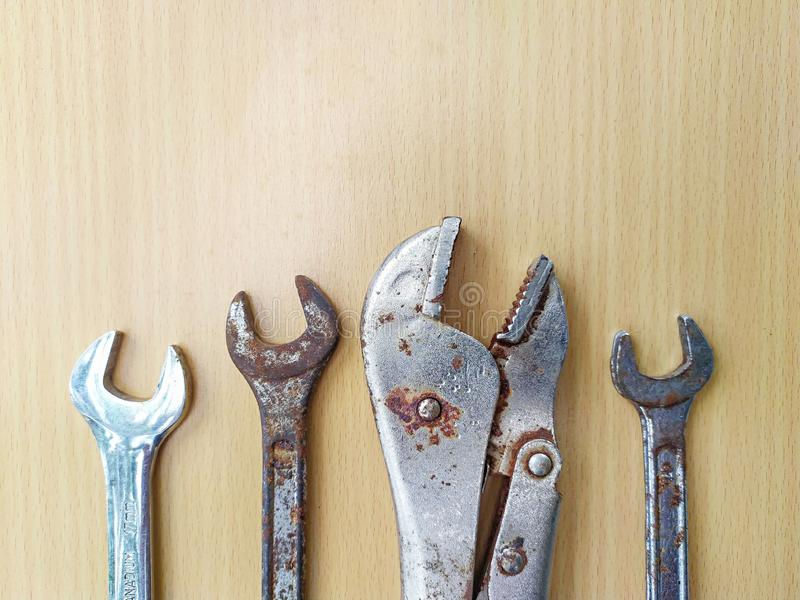 Tools closeup on wood background royalty free stock photo