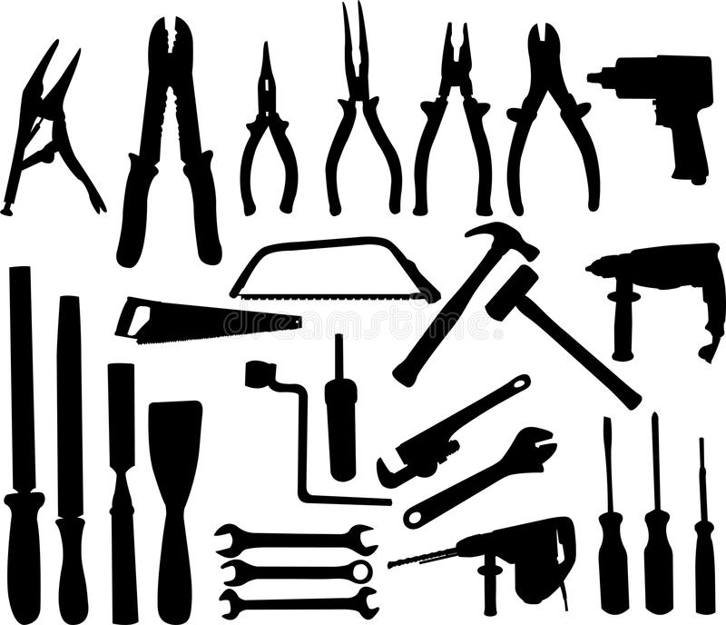 Tools collection. Tools silhouettes collection - vector illustration royalty free illustration