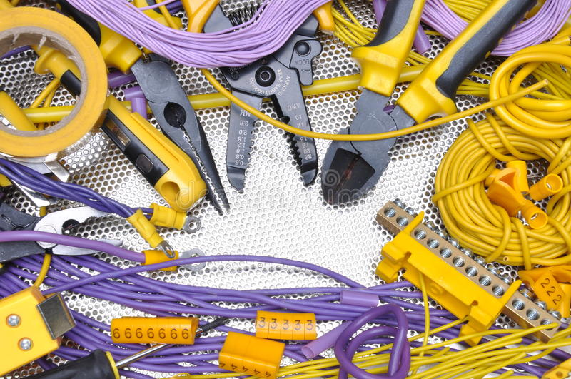 Tools and component for electrical installation royalty free stock photos