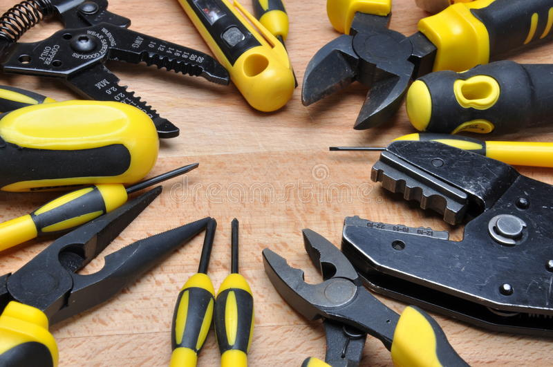 Tools and component for electrical installation. Set of tools and component for electrical installation royalty free stock photography