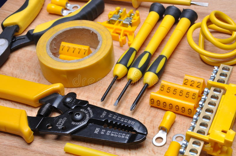Tools and component for electrical installation. Set of tools and component for electrical installation royalty free stock photo