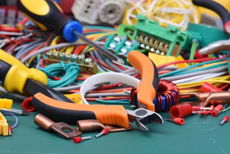 Tools and component used in electrical installations royalty free stock photos