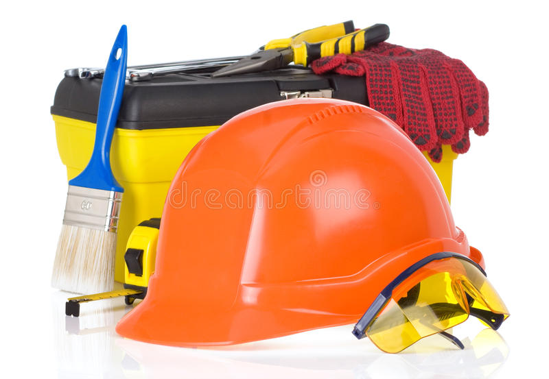 Tools and construction toolbox on white royalty free stock image