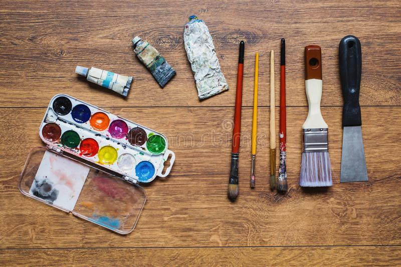 Tools for drawing. Love of art stock photos