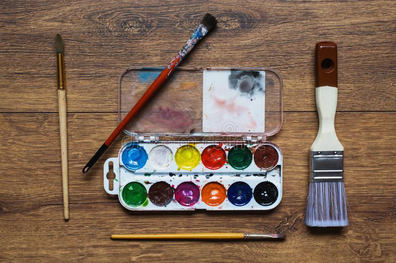 Tools for drawing. Love of art stock images
