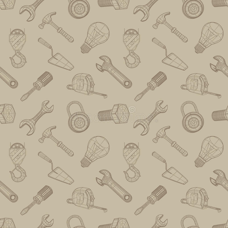 Tools drawing seamless background royalty free illustration