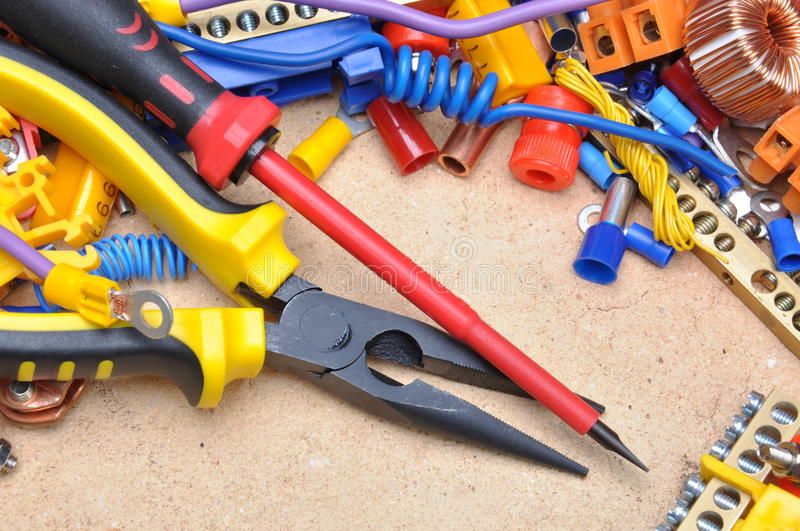 Tools and electrical component. Tools and component for electrical installation royalty free stock photos