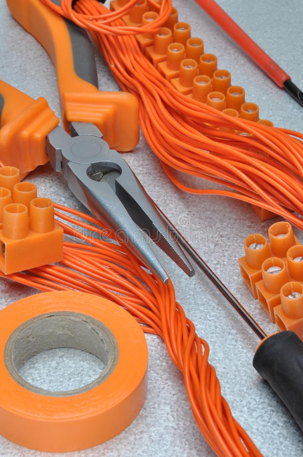 Tools and electrical component kit. To use in electrical installations royalty free stock images
